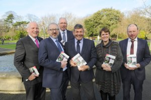 Pictured at the launch of the 2019 Forestry & Timber Yearbook were (from l to r): Donal Magner (Yearbook Editor), Brendan Lacey (ITGA Chairman), Donal Whelan, (ITGA Technical Director), Minister of State for Forestry, Andrew Doyle TD, Mechteld Schuller (ITGA Secretariat), Pat Neville (Coillte)